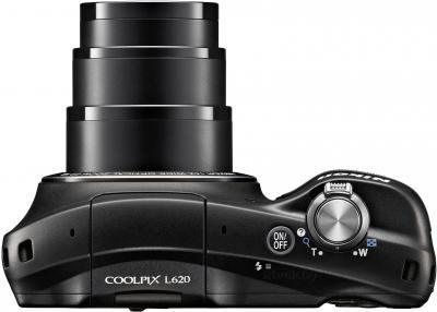 Компактный фотоаппарат Nikon Coolpix L620 (Black) - вид сверху