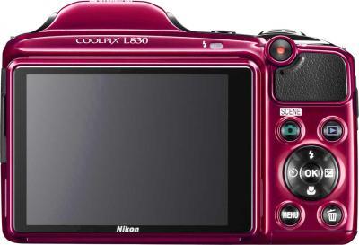 Компактный фотоаппарат Nikon Coolpix L830 (Red) - вид сзади
