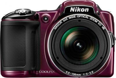 Компактный фотоаппарат Nikon Coolpix L830 (Plum) - вид спереди