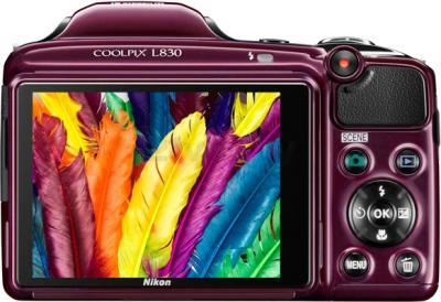 Компактный фотоаппарат Nikon Coolpix L830 (Plum) - вид сзади