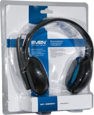Наушники-гарнитура Sven AP-680MV (черно-синий) - упаковка