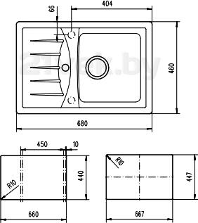 Мойка кухонная Teka Cabrera 45 B-TG (антрацит) - схема встраивания
