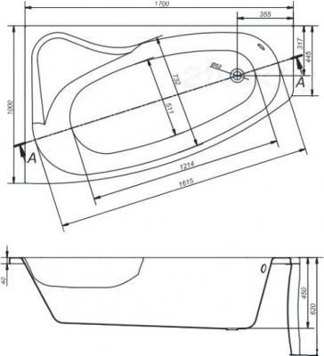 Ванна акриловая Cersanit Sicilia 170x100 L / S301-097 - габаритные размеры