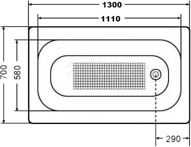 Ванна стальная Estap Classic 130x70 (White) - габаритные размеры