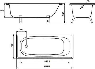 Ванна стальная Estap Classic 160x71 (White) - габаритные размеры