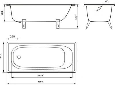 Ванна стальная Estap Classic 170x71 (White) - габаритные размеры