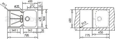 Мойка кухонная Teka Cara 45 B-TG / 88556 (оникс) - схема встраивания