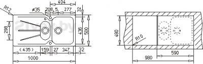 Мойка кухонная Teka Cara 60 B-TG (оникс) - схема встраивания
