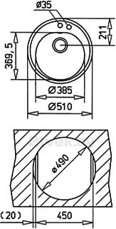 Мойка кухонная Teka Centroval 45-TG (шоколад) - схема встраивания