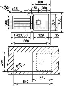 Мойка кухонная Teka Kea 45 B-TG (антрацит) - схема встраивания