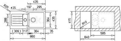Мойка кухонная Teka Kea 60 B-TG (топаз) - схема встраивания