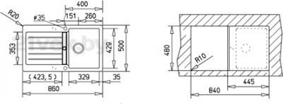 Мойка кухонная Teka Lugo 45 B-TG (антрацит) - схема встраивания
