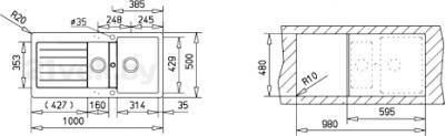 Мойка кухонная Teka Lugo 60 B-TG (Anthracite) - схема встраивания