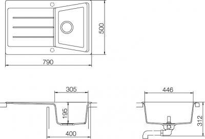 Мойка кухонная Teka Lumina 40 B-TG (антрацит) - схема встраивания