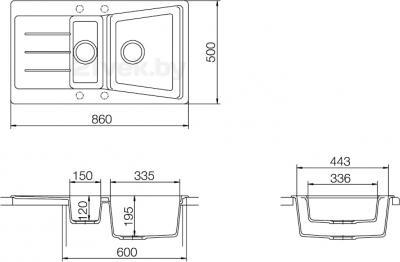 Мойка кухонная Teka Lumina 60 B-TG S (антрацит) - схема встраивания
