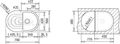 Мойка кухонная Teka Perla 45 B-TG (топаз) - схема встраивания