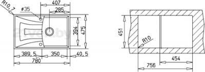 Мойка кухонная Teka Universo 45 B-GT (топаз) - схема встраивания