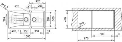 Мойка кухонная Teka Universo 60 B-GT (песочный) - схема встраивания