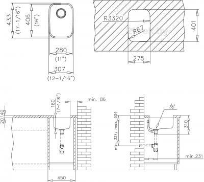 Мойка кухонная Teka BE 280/400 - схема монтажа