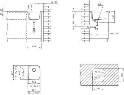 Мойка кухонная Teka BE 340/400 Plus - схема монтажа