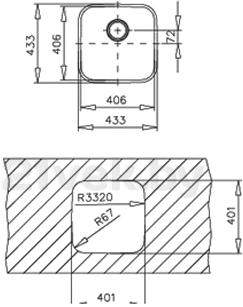 Мойка кухонная Teka BE 400/400 - схема монтажа
