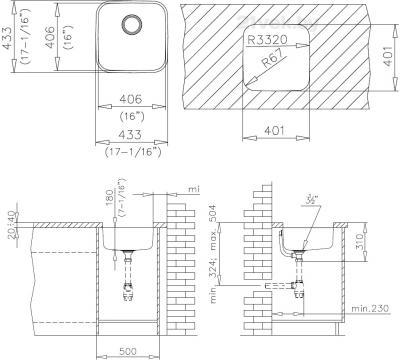 Мойка кухонная Teka BE 400/400 Plus - схема монтажа