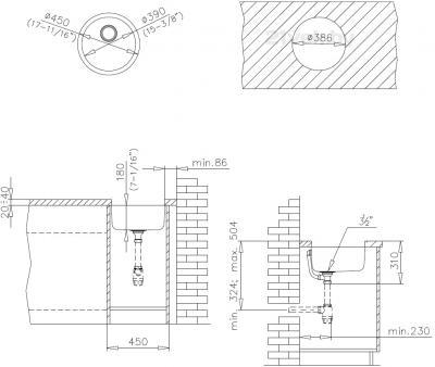 Мойка кухонная Teka Round 390 - схема монтажа