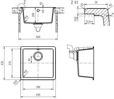 Мойка кухонная Teka Radea 390/370 TG (антрацит) - схема встраивания
