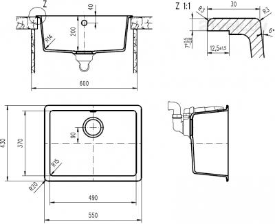 Мойка кухонная Teka Radea 490/370 TG (топаз) - схема встраивания