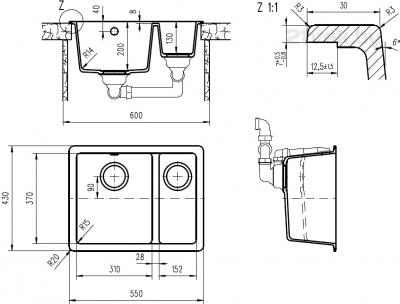 Мойка кухонная Teka Radea 550/370 TG (антрацит) - схема встраивания
