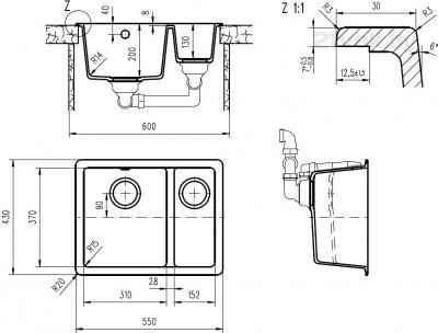 Мойка кухонная Teka Radea 550/370 TG (топаз) - схема встраивания