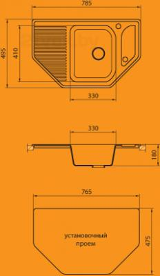 Мойка кухонная Granicom G002-03 (бренди) - схема монтажа