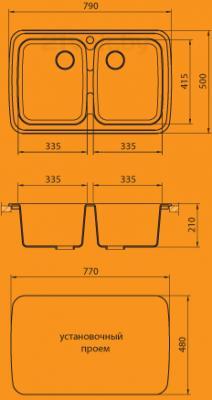 Мойка кухонная Granicom G004-06 (шампань) - схема монтажа