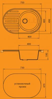 Мойка кухонная Granicom G006-04 (серый) - схема монтажа