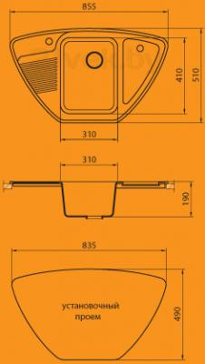 Мойка кухонная Granicom G008-03 (бренди) - схема монтажа
