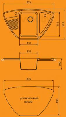 Мойка кухонная Granicom G008-04 (серый) - схема монтажа