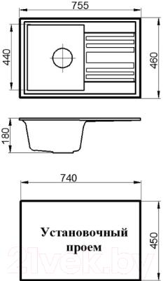 Мойка кухонная Granicom G010-08 (жасмин)