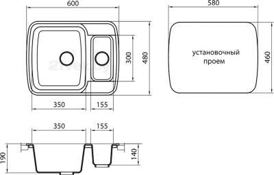 Мойка кухонная Granicom G011-04 (серый) - схема встраивания