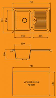 Мойка кухонная Granicom G013-01 (антрацит) - схема монтажа
