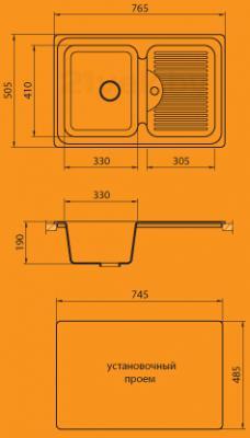 Мойка кухонная Granicom G013-03 (бренди) - схема монтажа