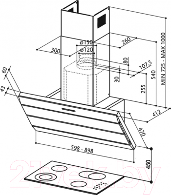 Вытяжка декоративная Faber Orizzonte Plus Vetro EG8 X/VBK A90 Logic