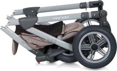 Детская универсальная коляска Expander Mondo Grey Line 2 в 1 (Lila) - в сложенном виде (cafe latte)