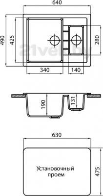 Мойка кухонная Granicom G017-04 (серый) - схема встраивания