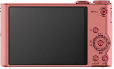 Компактный фотоаппарат Sony Cyber-shot DSC-WX350 (розовый) - вид сзади