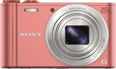 Компактный фотоаппарат Sony Cyber-shot DSC-WX350 (розовый) - вид спереди