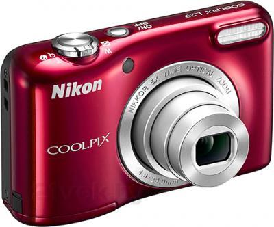 Компактный фотоаппарат Nikon Coolpix L29 (Red) - общий вид