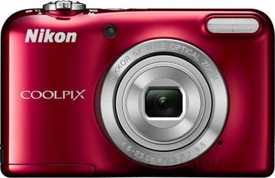 Компактный фотоаппарат Nikon Coolpix L29 (Red) - вид спереди