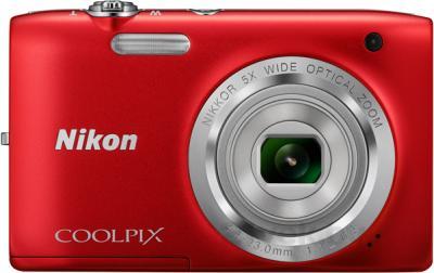 Компактный фотоаппарат Nikon Coolpix S2800 (Red) - вид спереди