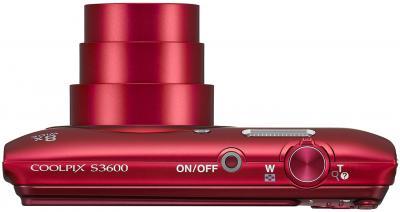 Компактный фотоаппарат Nikon Coolpix S3600 (Red) - вид сверху