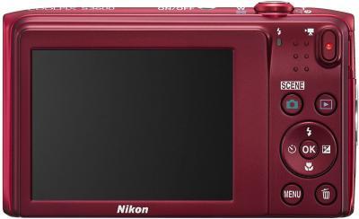 Компактный фотоаппарат Nikon Coolpix S3600 (Red) - вид сзади